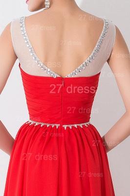 Modern Red Illusion Chiffon Evening Dress UK Crystals Sweep Train_3