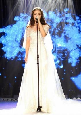 Elegant Illusion Short Sleeve Wedding Dress Tulle Lace Appliques White_1