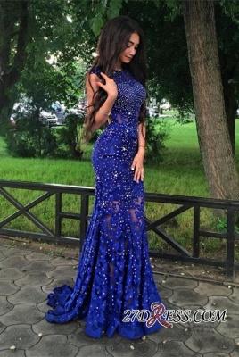 Lace-Appliques Beads Sleeveless Mermaid Royal-Blue Luxury Prom Dress UK BA4876_2