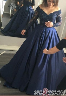 Long-Sleeves Off-the-Shoulder Navy-Blue Lace Sexy Prom Dress UK qq0253_3
