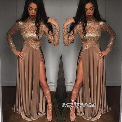 Elegant Sheer High Neck Side Slit Prom Dress UKes UK BA6620_3