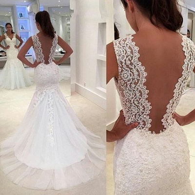 Newest Lace Appliques  Sexy Mermaid Straps Sleeveless Sweep Train Wedding Dress_4