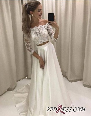 Two-pieces White Sweep-train Lace Off-the-shoulder Evening Dress UK BA7423_1