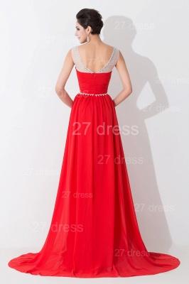 Modern Red Illusion Chiffon Evening Dress UK Crystals Sweep Train_2