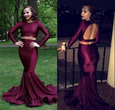 Burgundy two piece prom Dress UK, long mermaid evening gowns BA8861_3