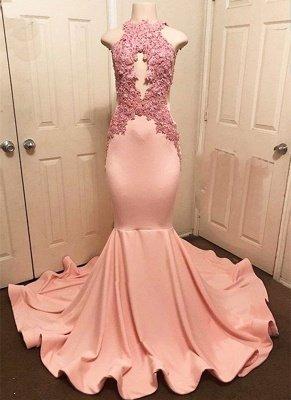 Halter Pink Lace Prom Dress UK | Mermaid Formal Dress UKes UK_1