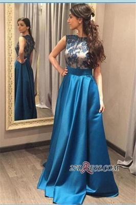 Appliques Blue A-Line Zipper Sleeveless Gorgeous Prom Dress UK_2