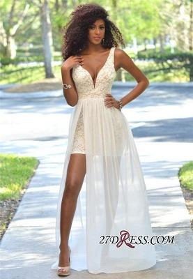 Deep-V-Neck Sheath Open-Back Elegant Lace Sleeveless Prom Dress UK_2