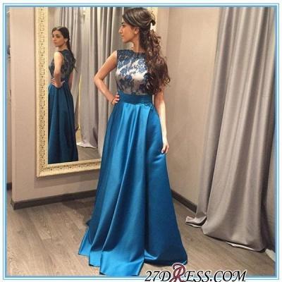 Appliques Blue A-Line Zipper Sleeveless Gorgeous Prom Dress UK_1