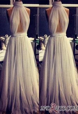 A-line Sleeveless Newest High-Neck Tulle Prom Dress UK BA2524_2