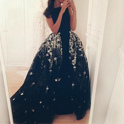 Gorgeous Long Overskirt Party Dress UK Appliques Tulle Evening Gown_2