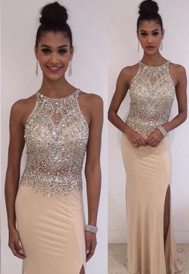 Stunning Sleeveless Scoop Evening Dress UK Crystals Split Floor Length TH027_1