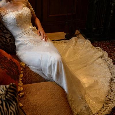 Elegant Illusion Short Sleeve Wedding Dress Tulle Lace Appliques White_5