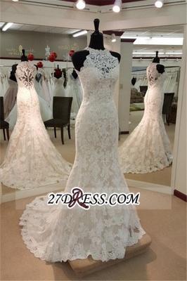 Sleeveless Buttons Court-Train Elegant Sexy Mermaid Lace Wedding Dresses UK_2