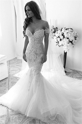Off-shoulder Sexy Mermaid Tulle Wedding Dress With Lace Appliques Ruffles_1