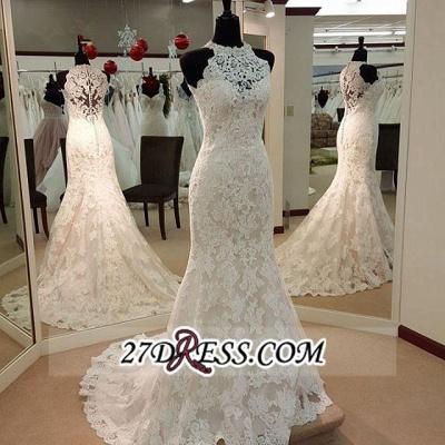 Sleeveless Buttons Court-Train Elegant Sexy Mermaid Lace Wedding Dresses UK_1