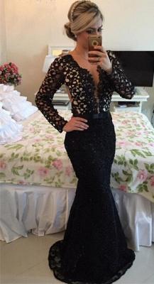 Newest V-neck Black Lace Mermaid Prom Dress UK Long Sleeve BA2186_3