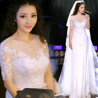Elegant Illusion Short Sleeve Wedding Dress Tulle Lace Appliques White_3
