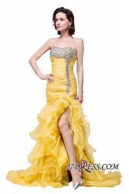 Side-Slit Mermaid Crystal Sexy Ruffles Sweetheart Prom Dress UKes UK_3