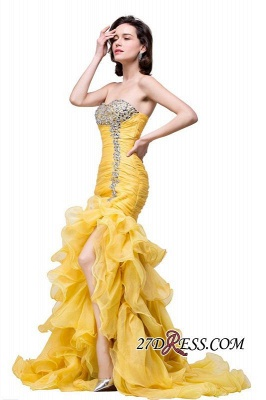 Side-Slit Mermaid Crystal Sexy Ruffles Sweetheart Prom Dress UKes UK_4
