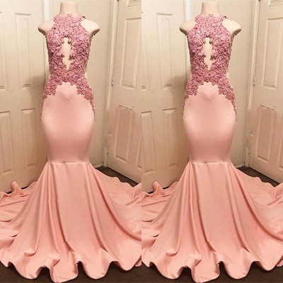 Halter Pink Lace Prom Dress UK | Mermaid Formal Dress UKes UK_3