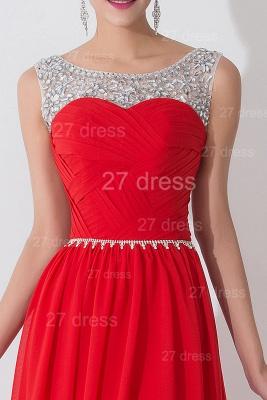 Modern Red Illusion Chiffon Evening Dress UK Crystals Sweep Train_4