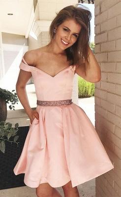 Lovely Off-the-Shoulder Short Prom Dress UK   Pink Mini Homecoming Dress UK_1