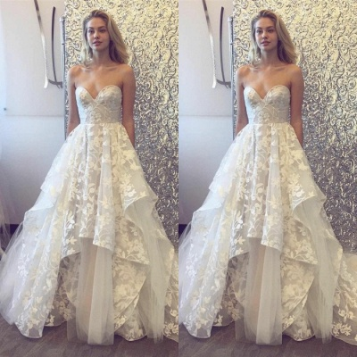 Pretty Sweetheart Wedding Dress | Lace Appliques Princess Bridal Gowns_3