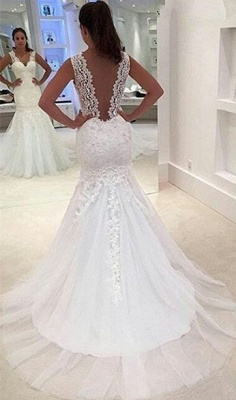 Newest Lace Appliques  Sexy Mermaid Straps Sleeveless Sweep Train Wedding Dress_1