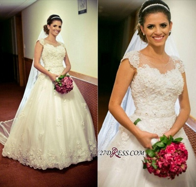 Cap-Sleeve Lace Tulle Ball Appliques Jewel Crystal-Belt Princess Gown Wedding Dres_2