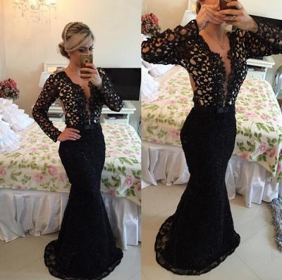 Newest V-neck Black Lace Mermaid Prom Dress UK Long Sleeve BA2186_2