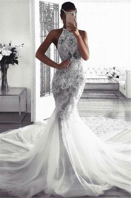 Elegant Sleeveless Halter Wedding Dresses UK    Sexy Mermaid Tulle Cheap Bridal Dresses_1