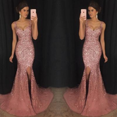 Luxury Sleeveless V-neck Crystal Evening Dress UK Mermaid With Crystal AP0_3