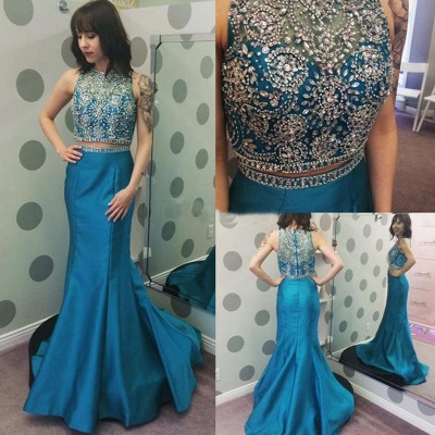 Newest Crystals Two Piece Prom Dress UK Mermaid Zipper Sweep Train_3
