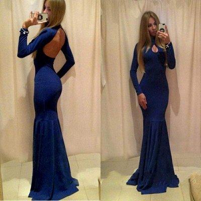 Sexy Long Sleeve Open Back Prom Dress UK Mermaid With Keyhole_3