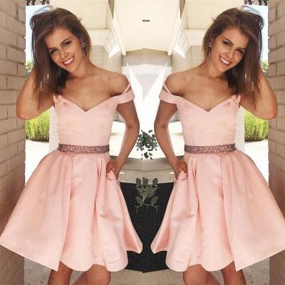 Lovely Off-the-Shoulder Short Prom Dress UK   Pink Mini Homecoming Dress UK_3