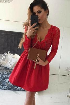 Elegant Red V-Neck Short Prom Dress UK | Long Sleeve Lace Homecoming Dress UK_1