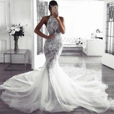 Elegant Sleeveless Halter Wedding Dresses UK |  Sexy Mermaid Tulle Cheap Bridal Dresses_3