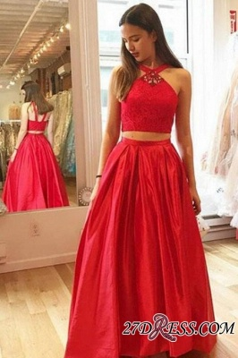 Gorgeous Red Halter A-Line Crystal Two-Pieces Prom Dress UKes UK_1