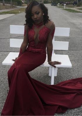Burgundy mermaid prom Dress UK, long sleeve evening gowns_1