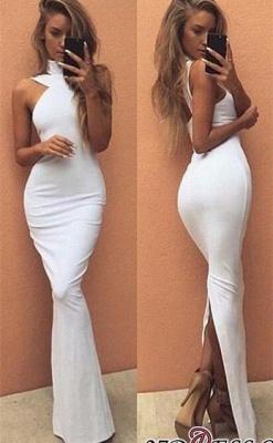 High-Neck Sleeveless White Elegant Long Prom Dress UK BA4800_2