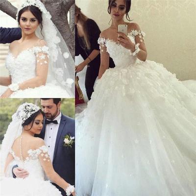 Elegant Off the Shoulder Ball Gown Wedding Dresses UK Tulle_3