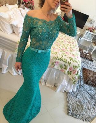 Modern Long Sleeve Lace Mermaid Prom Dress UK Pearls Off-the-shoulder BA2588 BT0_3