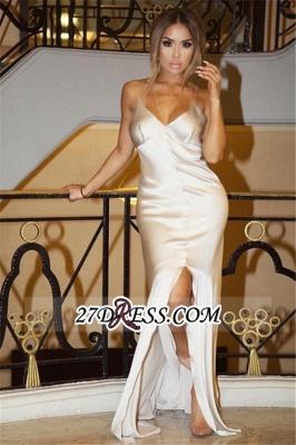 Spaghetti-Straps Split Sheath V-Neck Elegant White Prom Dress UK_2