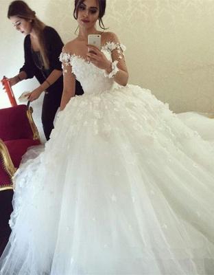 Elegant Off the Shoulder Ball Gown Wedding Dresses UK Tulle_1