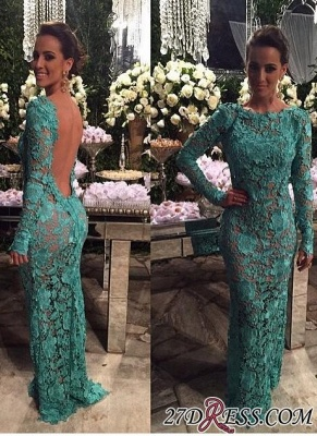 Sheer-Lace Open-Back Mermaid Long-Sleeves Long Evening Gown BA7427_2