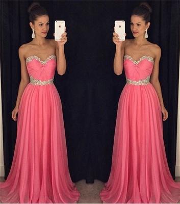 Newest Chiffon Pink Beadings A-line Evening Dress UK Sweetheart Sleeveless RU046_3