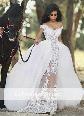 Lace Off-the-Shoulder Gorgeous Sheer Overskirt Detachable Wedding Dresses UK LY36_3