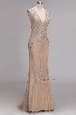 Sleeveless Beadings Long Mermaid V-Neck Luxury Crystal Prom Dress UK_2