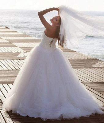 Timeless Tulle Beadss White Wedding Dress Plus Size Lace-up Sweetheart_3